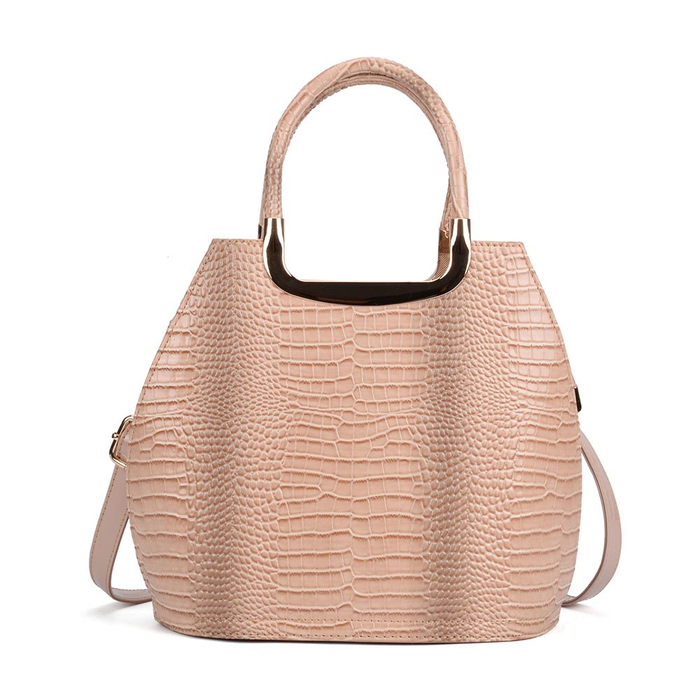 VK5332 Beige - Women Metal Tote Bag With Crocodile Effect
