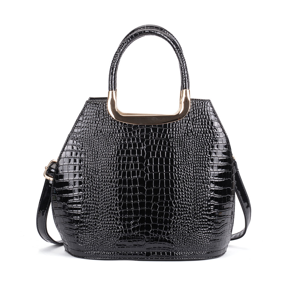 VK5332 Black - Women Metal Tote Bag With Crocodile Effect