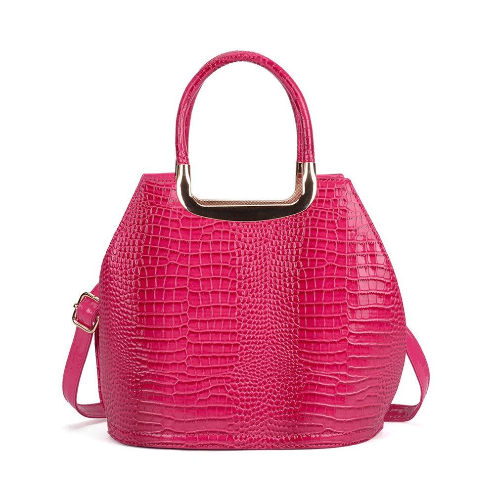 VK5332 Fushia - Women Metal Tote Bag With Crocodile Effect