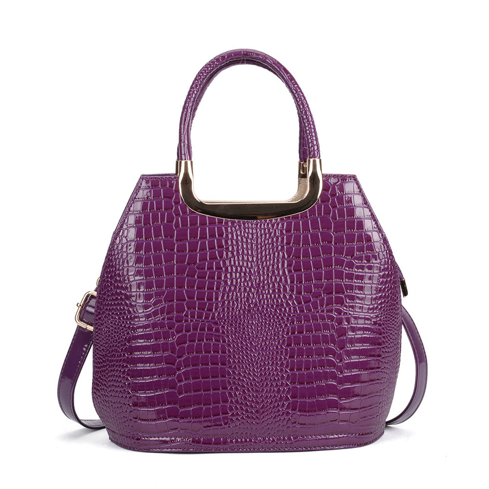 VK5332 Purple - Women Metal Tote Bag With Crocodile Effect