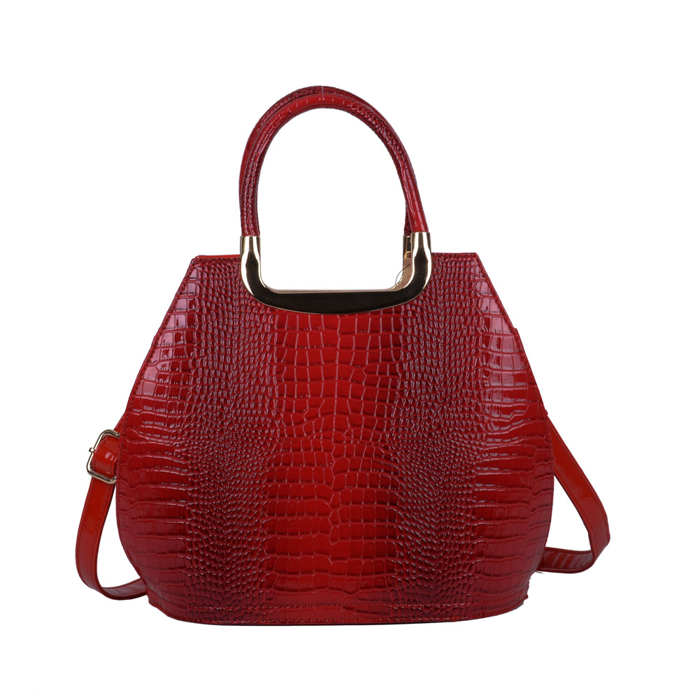 VK5332 Red - Women Metal Tote Bag With Crocodile Effect