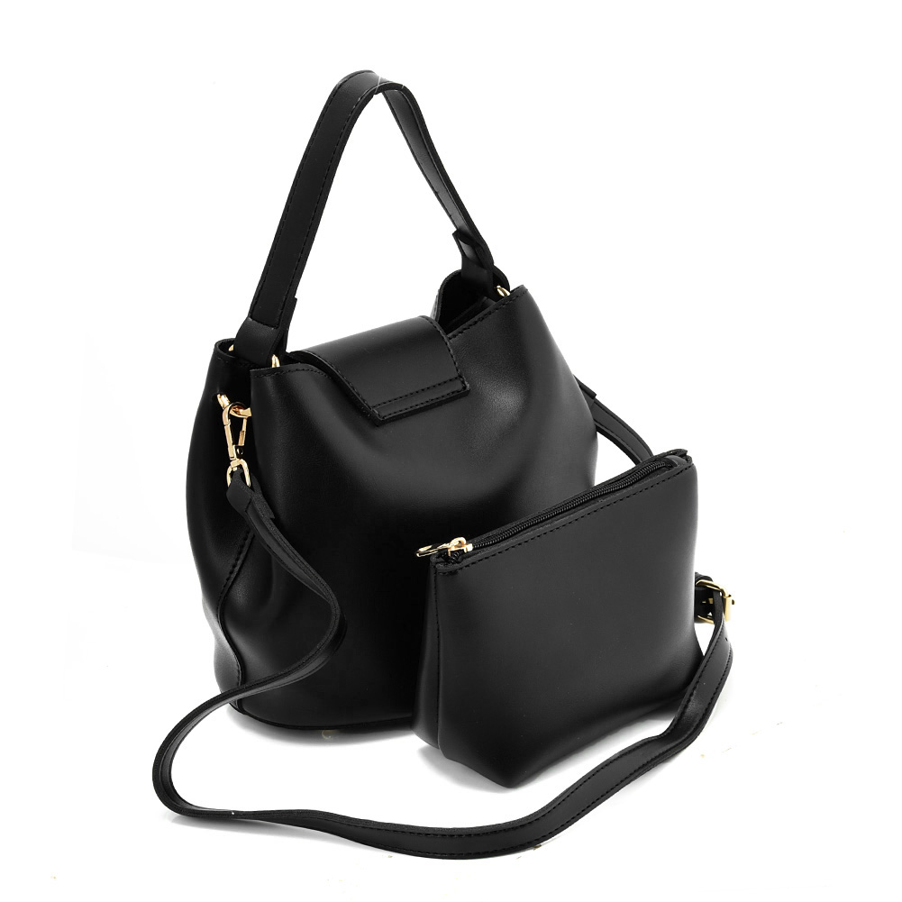 VK5564 BLACK - Chain Handbag With Buckle Design