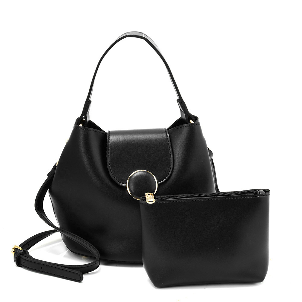 VK5564-New BLACK - Simple Solid Color Leather Set Bag With Flap And Special Handles