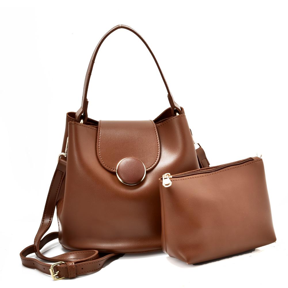 VK5564-New BROWN - Simple Solid Color Leather Set Bag With Flap And Special Handles