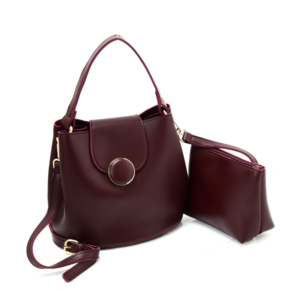 VK5564-New PURPLISH RED - Simple Solid Color Leather Set Bag With Flap And Special Handles