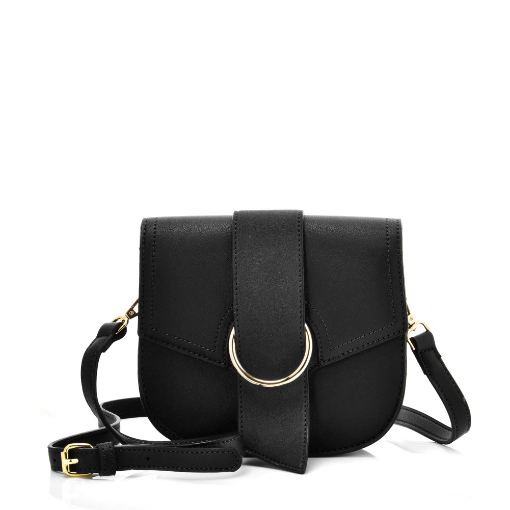 VK5566 BLACK - Solid Color Saddle Bag With Buckle Design