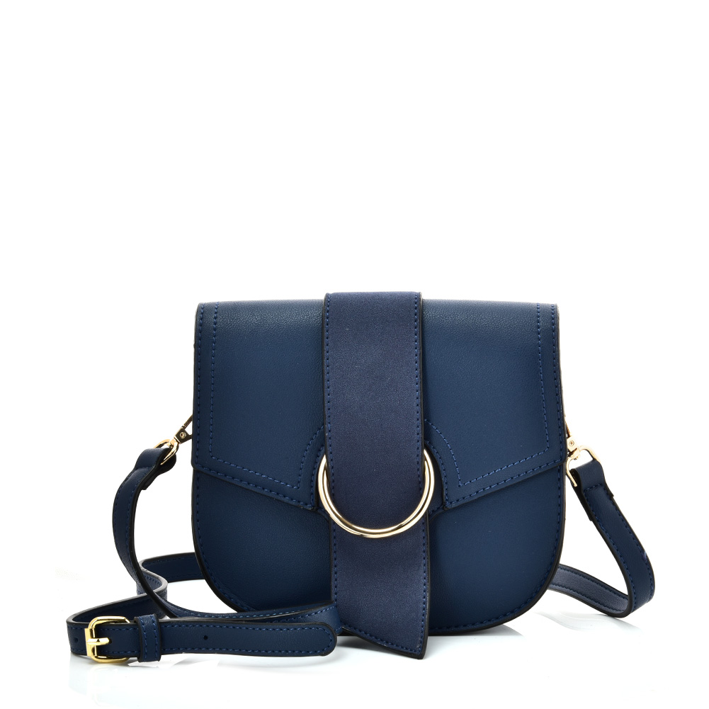 VK5566 BLUE - Solid Color Saddle Bag With Buckle Design