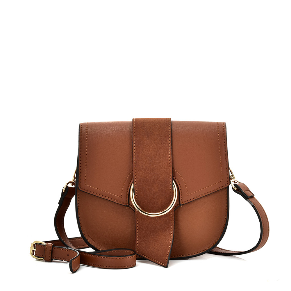 VK5566 BROWN - Solid Color Saddle Bag With Buckle Design