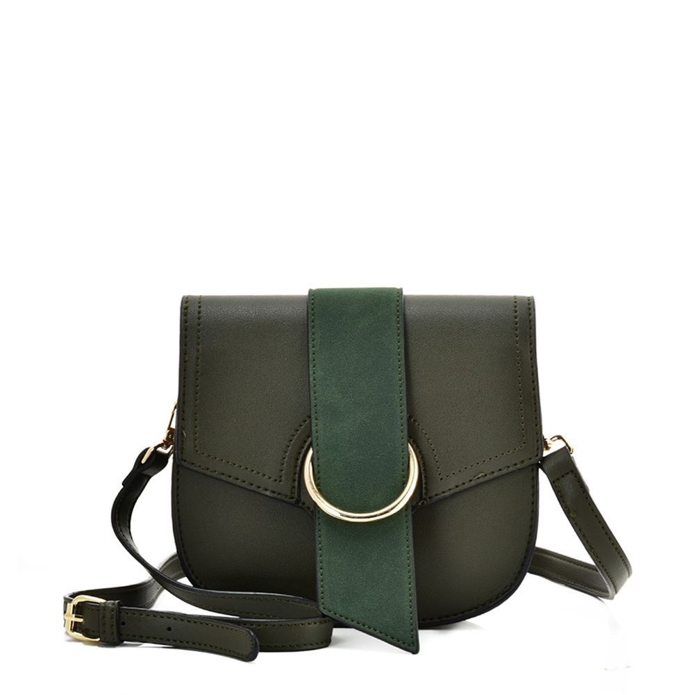 VK5566 GREEN - Solid Color Saddle Bag With Buckle Design