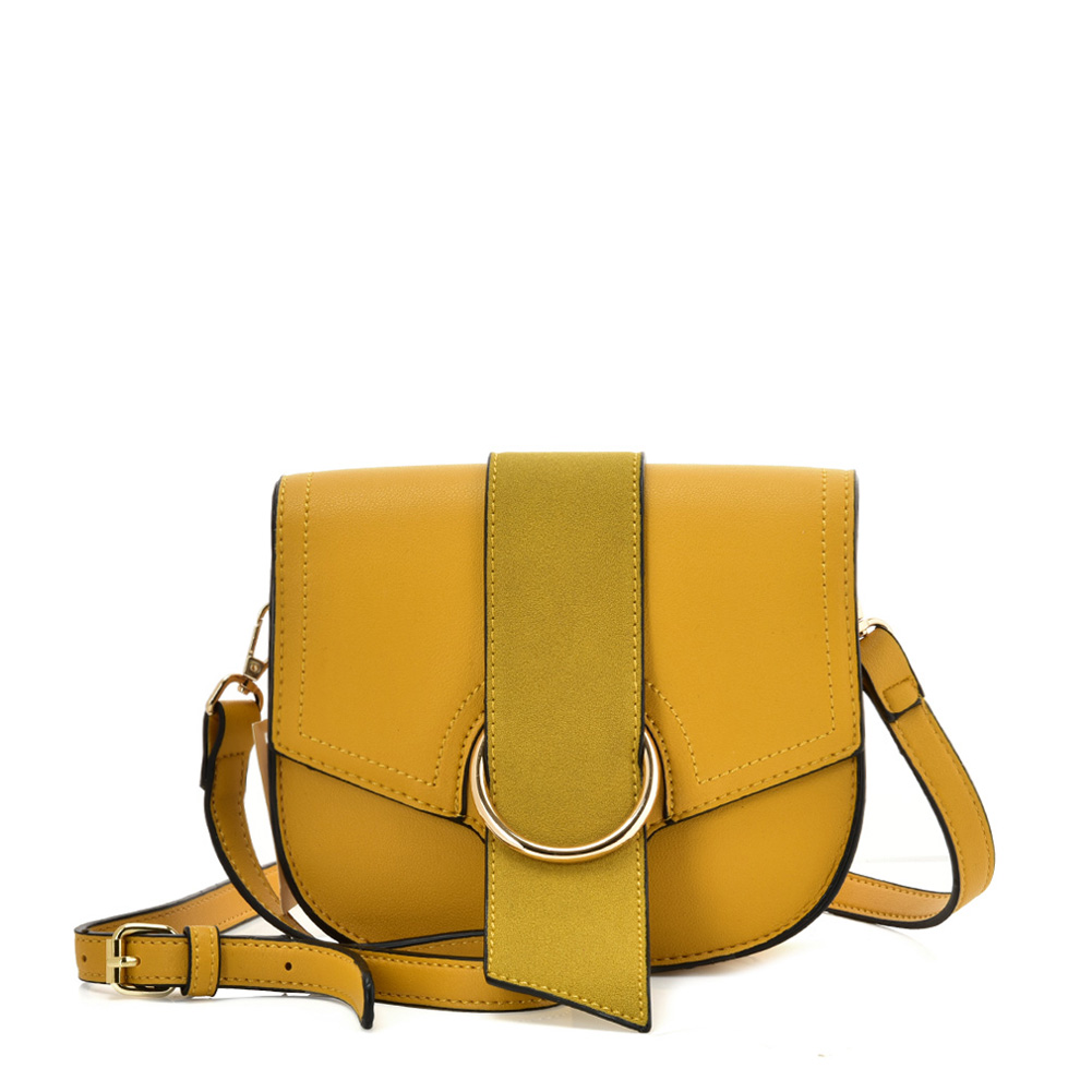 VK5566 YELLOW - Solid Color Saddle Bag With Buckle Design
