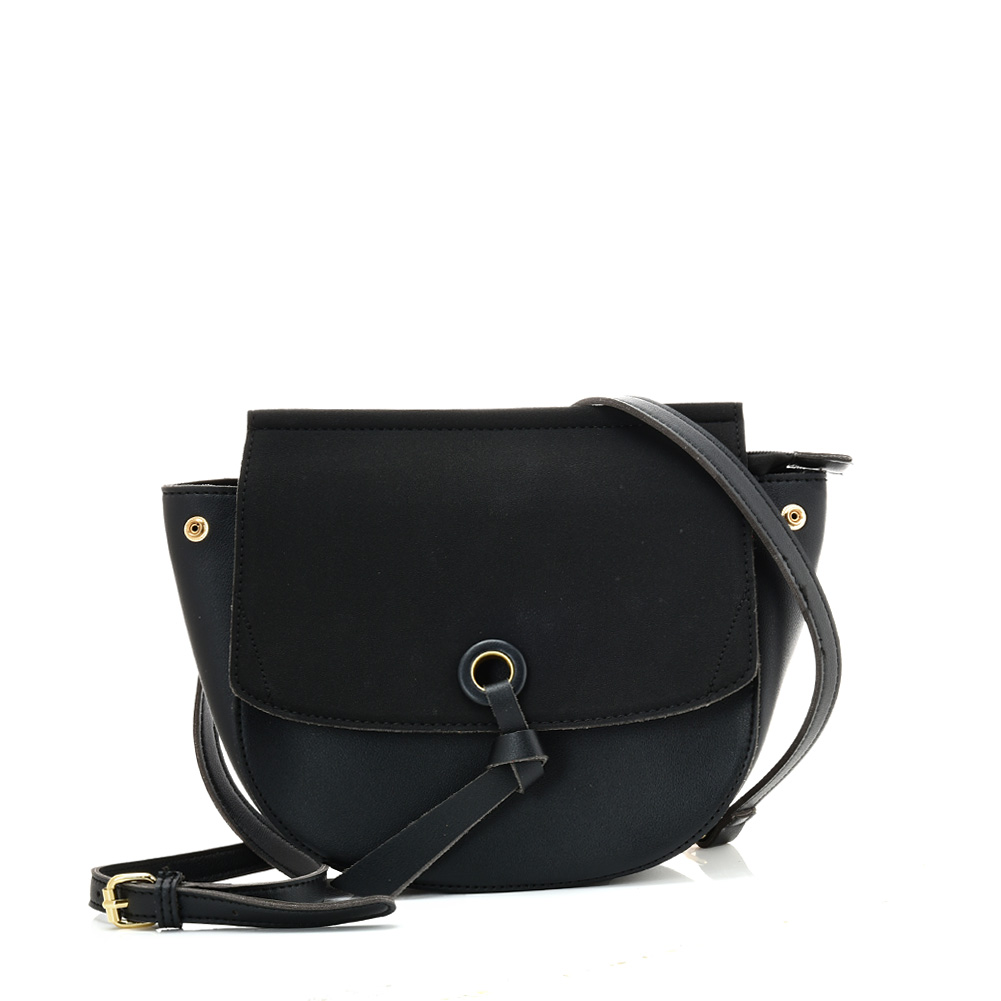 VK5567 BLACK - Simple Solid Color Leather Handbag For Women