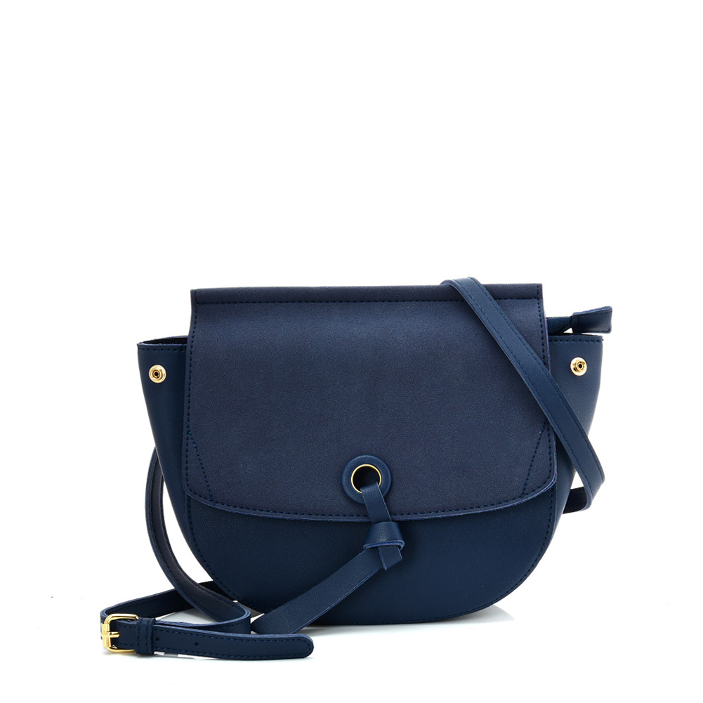 VK5567 BLUE - Simple Solid Color Leather Handbag For Women