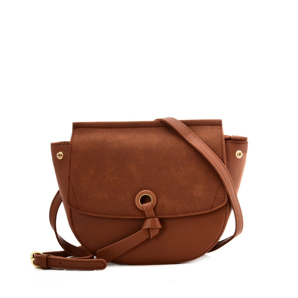 VK5567 BROWN - Simple Solid Color Leather Handbag For Women