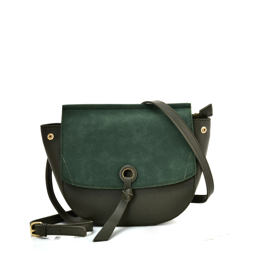 VK5567 GREEN - Simple Solid Color Leather Handbag For Women