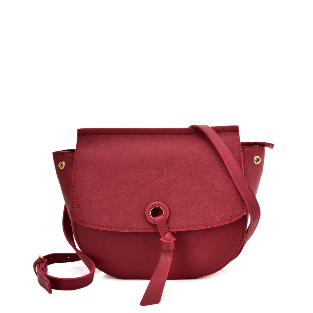 VK5567 PURPLISH RED - Simple Solid Color Leather Handbag For Women