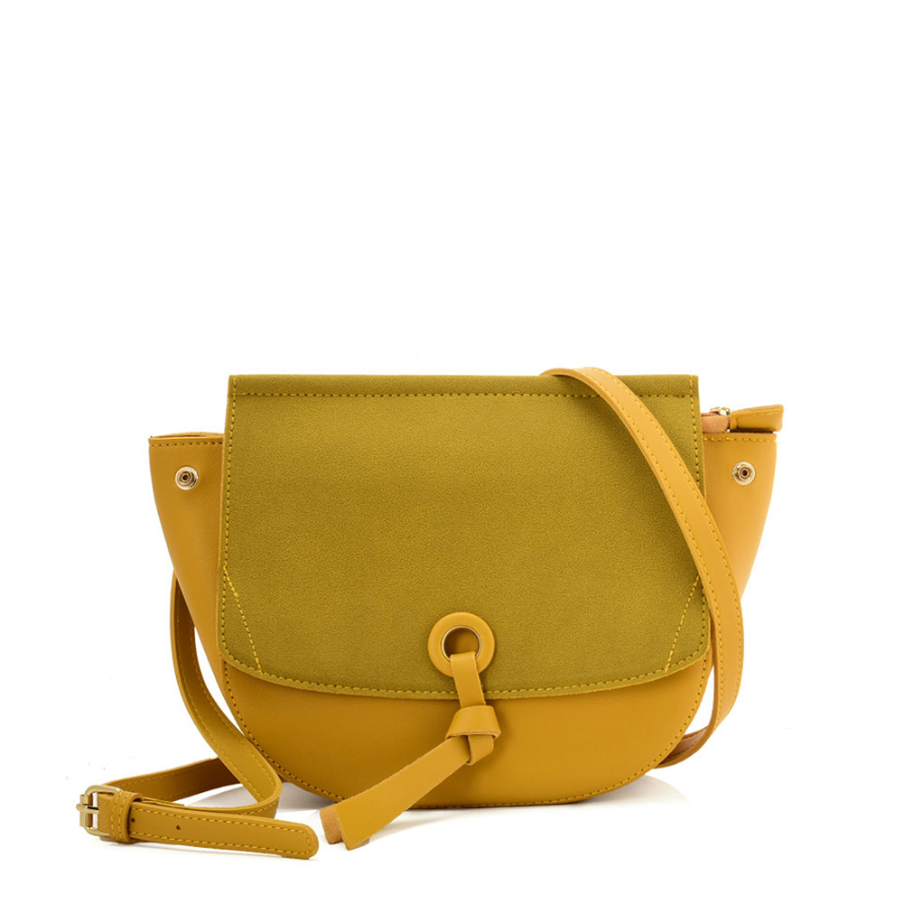 VK5567 YELLOW - Simple Solid Color Leather Handbag For Women