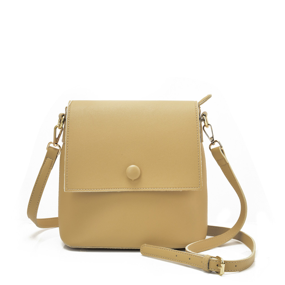 VK5569 APRICOT - Simple Handbag With Flap For Women