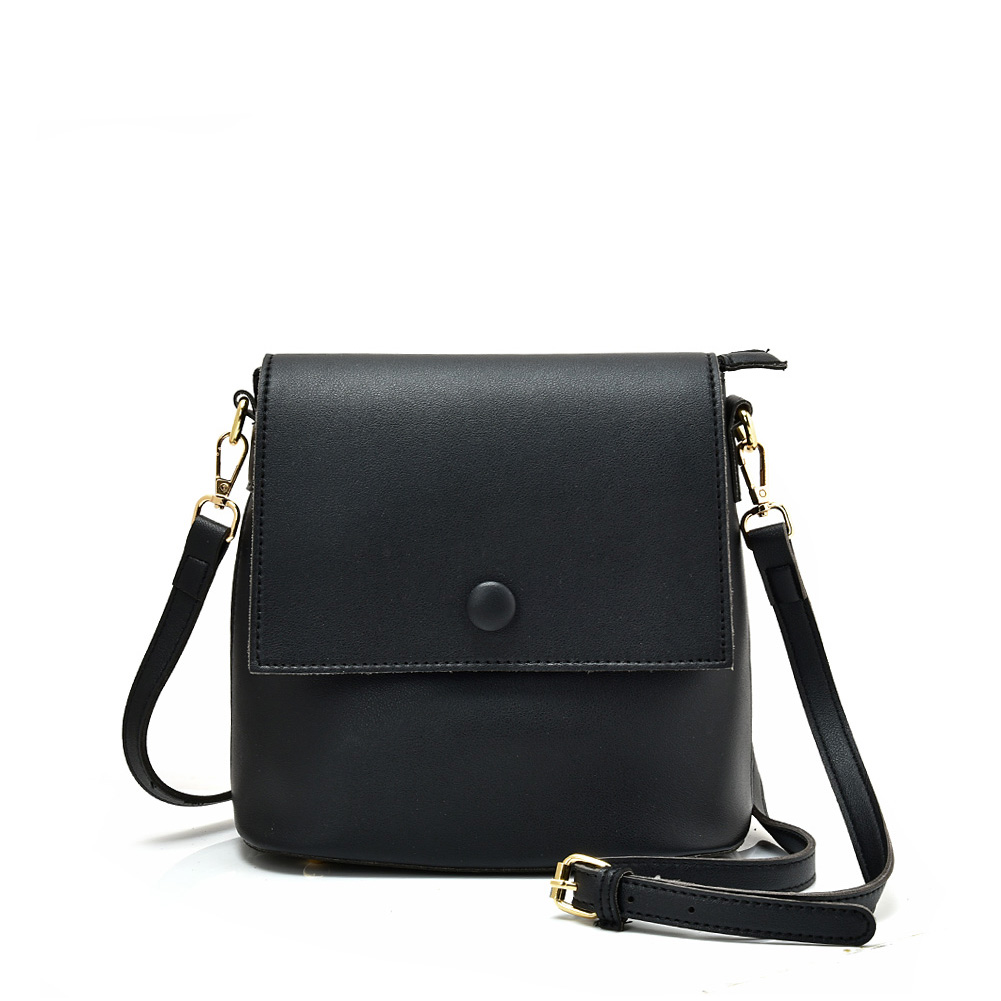VK5569 BLACK - Simple Handbag With Flap For Women