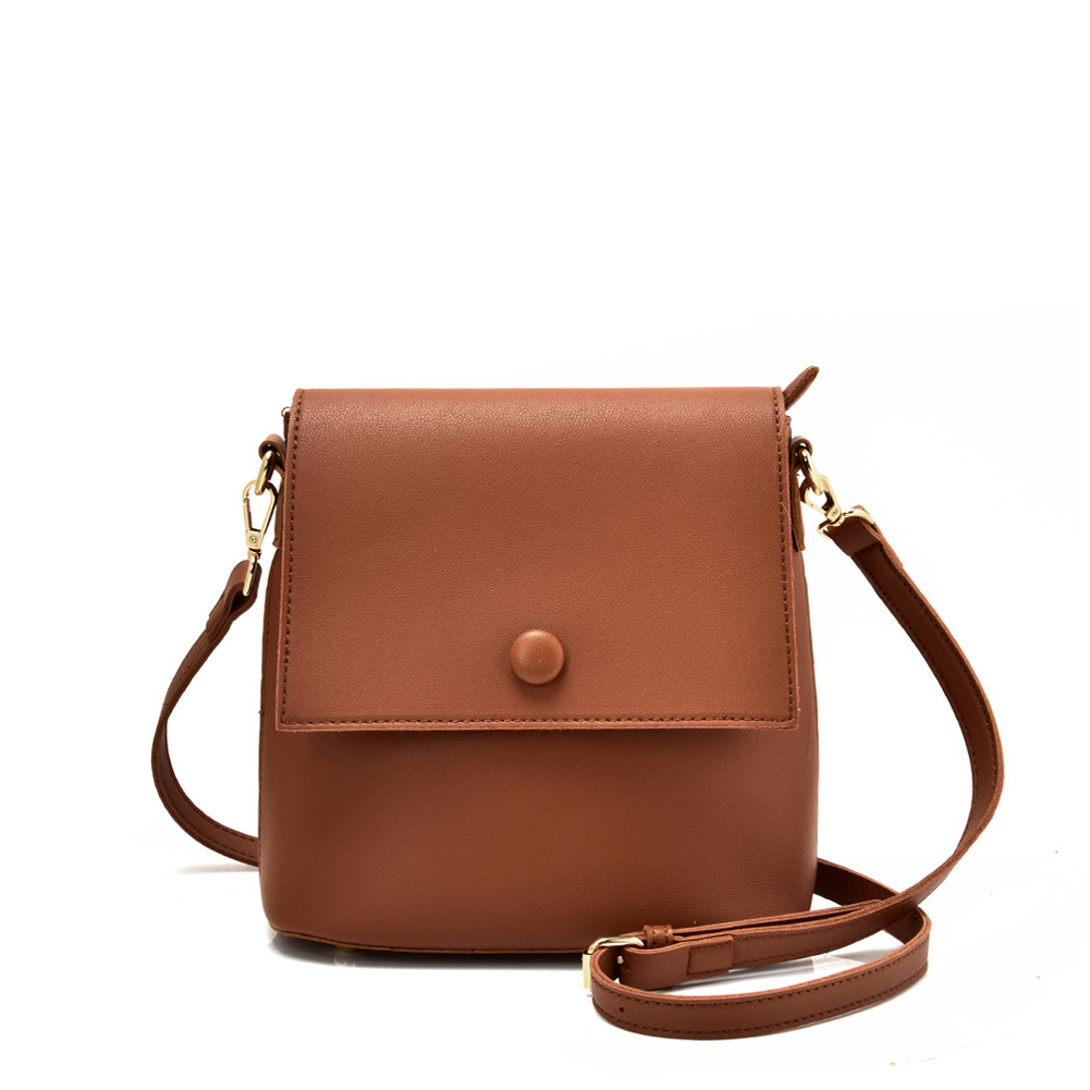 VK5569 BROWN - Simple Handbag With Flap For Women