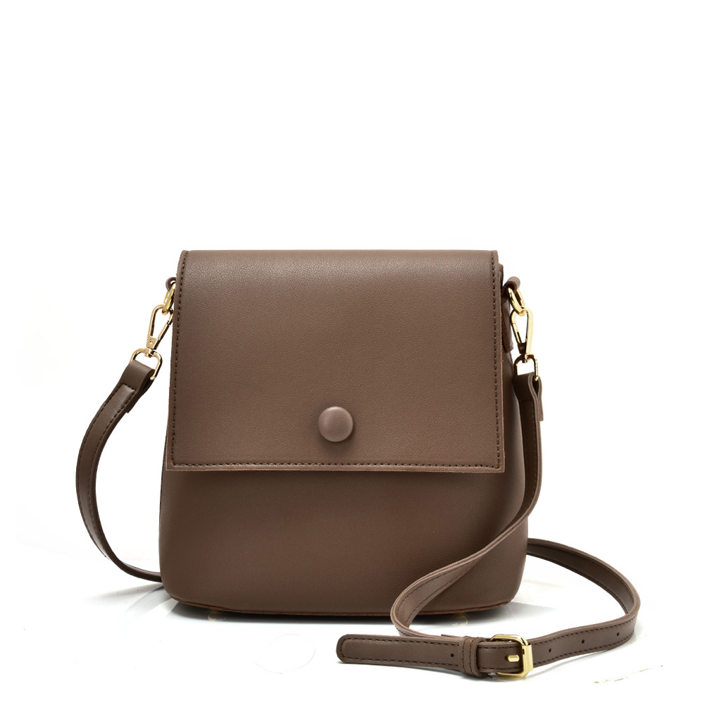 VK5569 COFFEE - Simple Handbag With Flap For Women