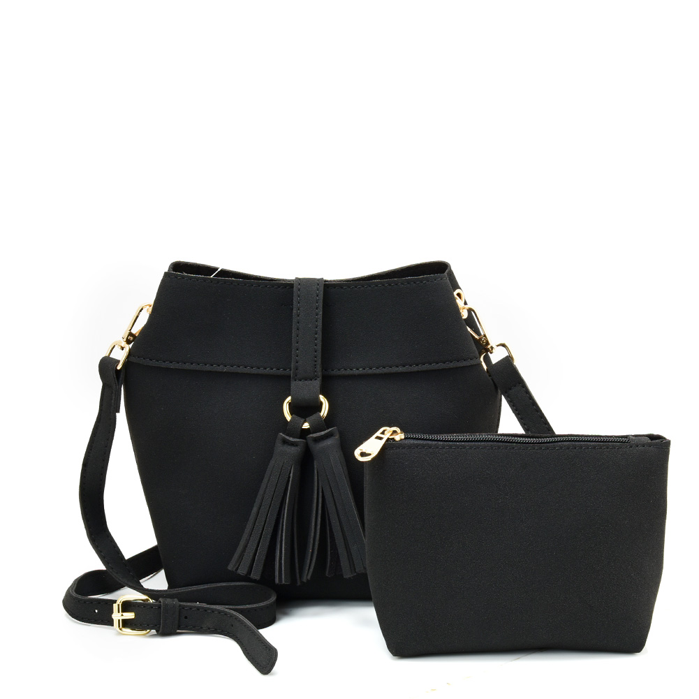 VK5571 BLACK - Solid Color Set Bag With Circle Buckle Design