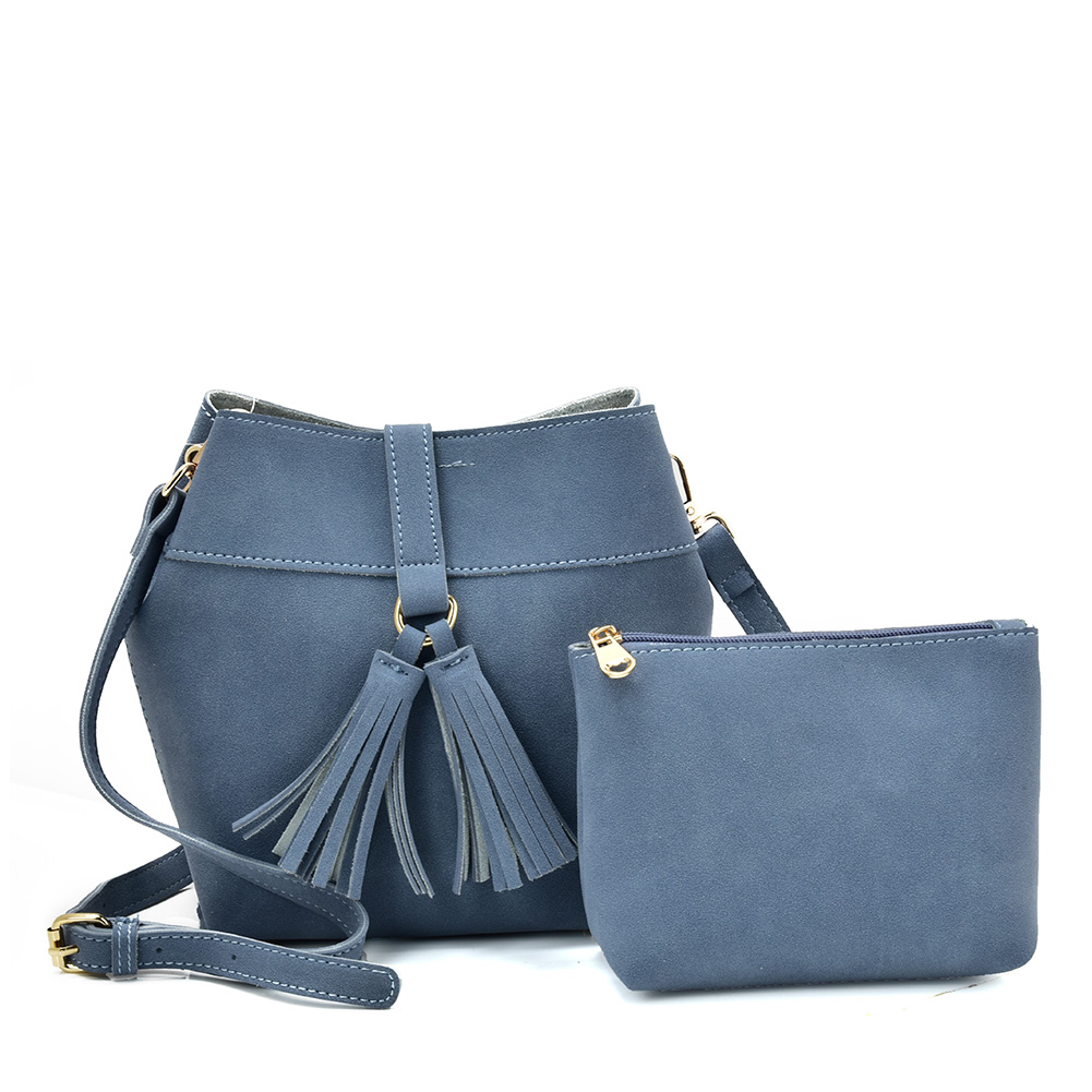 VK5571 BLUE - Solid Color Set Bag With Circle Buckle Design