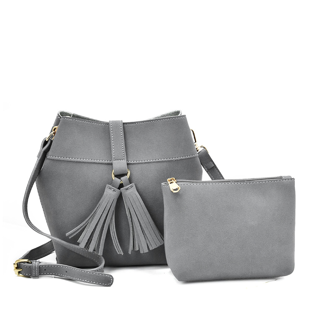 VK5571 GREY - Solid Color Set Bag With Circle Buckle Design