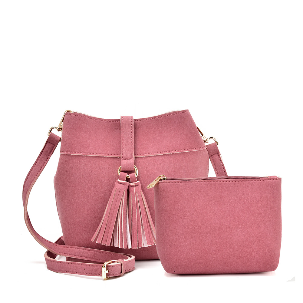 VK5571 PINK - Solid Color Set Bag With Circle Buckle Design