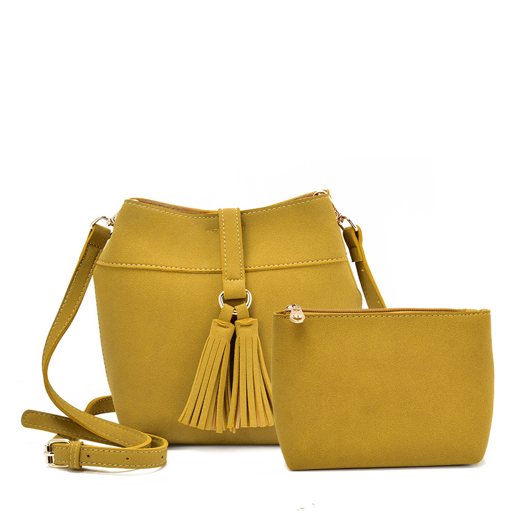 VK5571 YELLOW - Solid Color Set Bag With Circle Buckle Design
