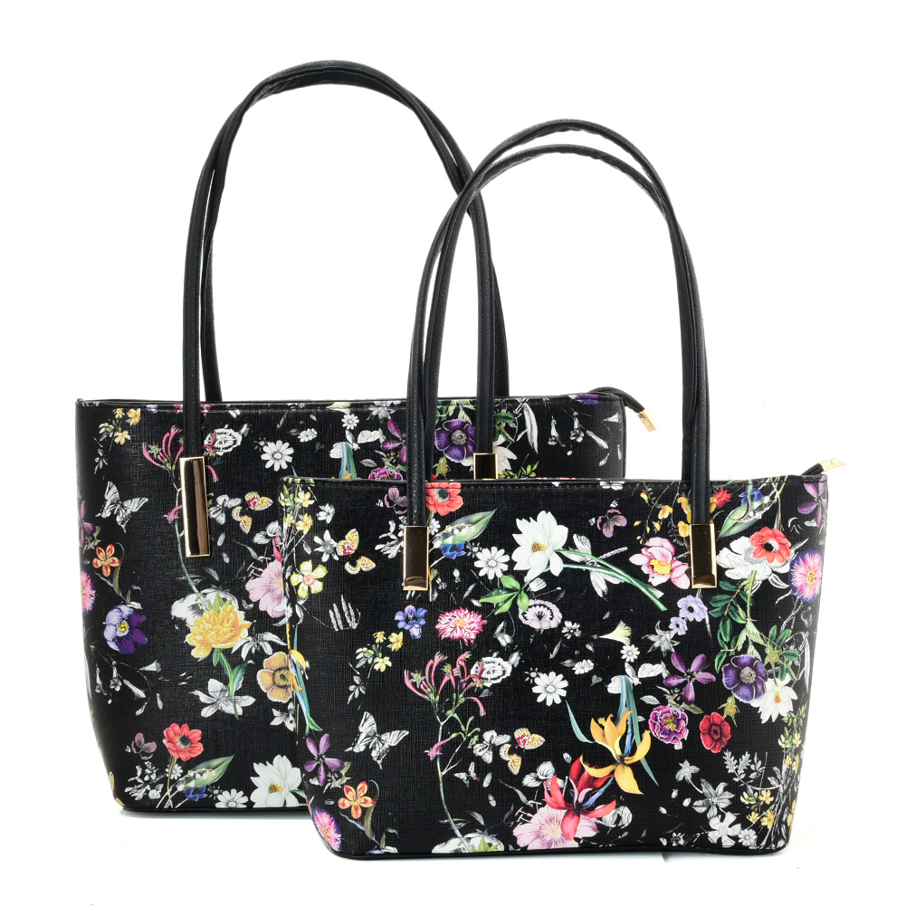 VK5574 BLACK FLOWER - Simple Set Bag With Slim Strap And Zipper Design