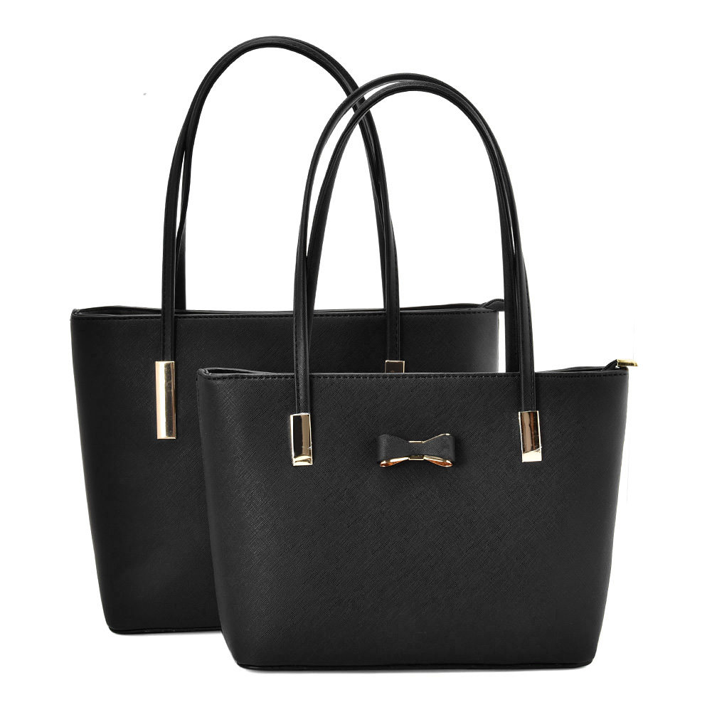 VK5574 A-BLACK - Simple Set Bag With Slim Strap And Bow Design