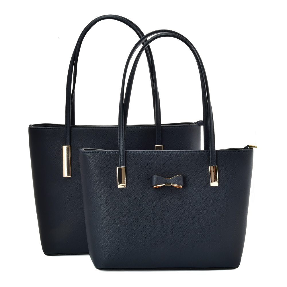 VK5574 BLUE - Simple Set Bag With Slim Strap And Bow Design