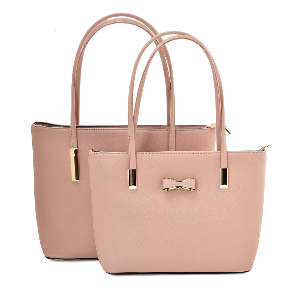 VK5574 PINK - Simple Set Bag With Slim Strap And Bow Design
