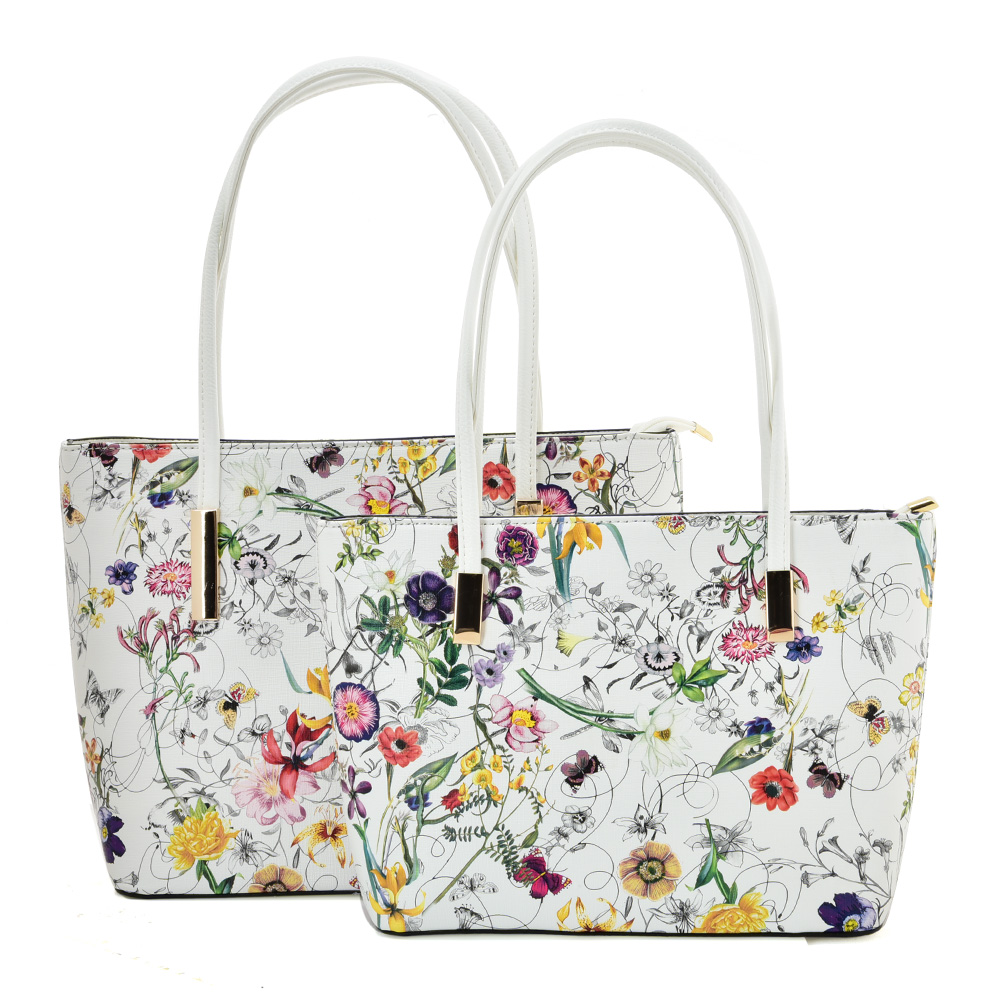 VK5574 WHITE FLOWER - Simple Set Bag With Slim Strap And Zipper Design