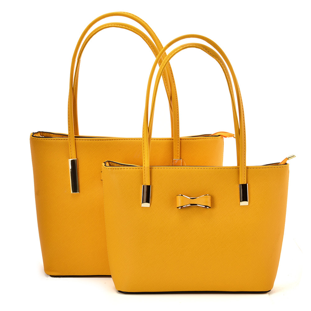 VK5574 YELLOW - Simple Set Bag With Slim Strap And Bow Design
