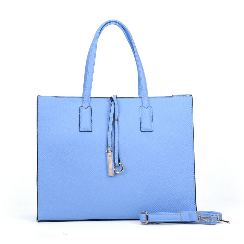 VK6022 Light Blue - Boxy Tote Bag With Ring Decoration