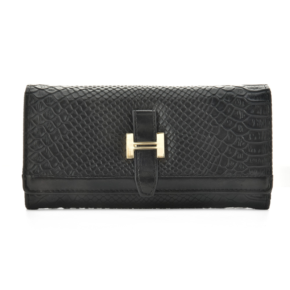 VKP1378 Black - Stylish Solid Hasp Wallets Lady Purses