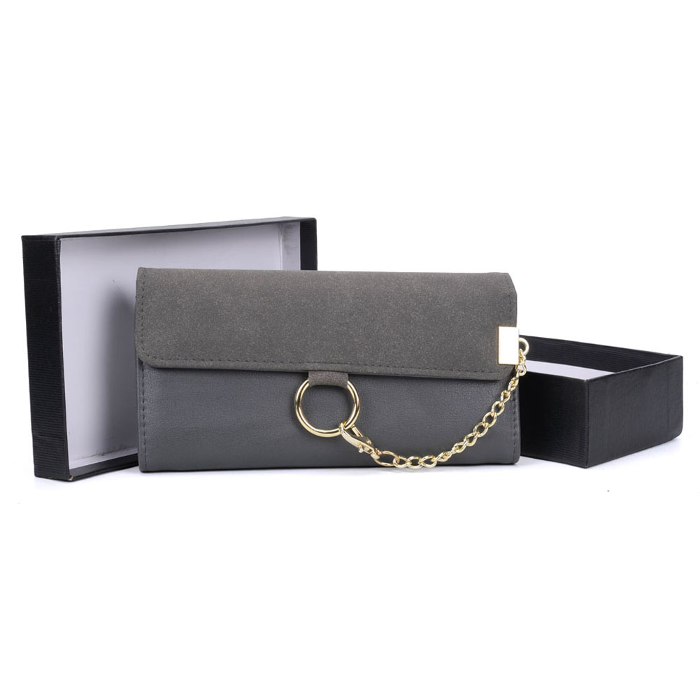VKP1484 Dark grey - Fashion Women Metal Chain Wallet