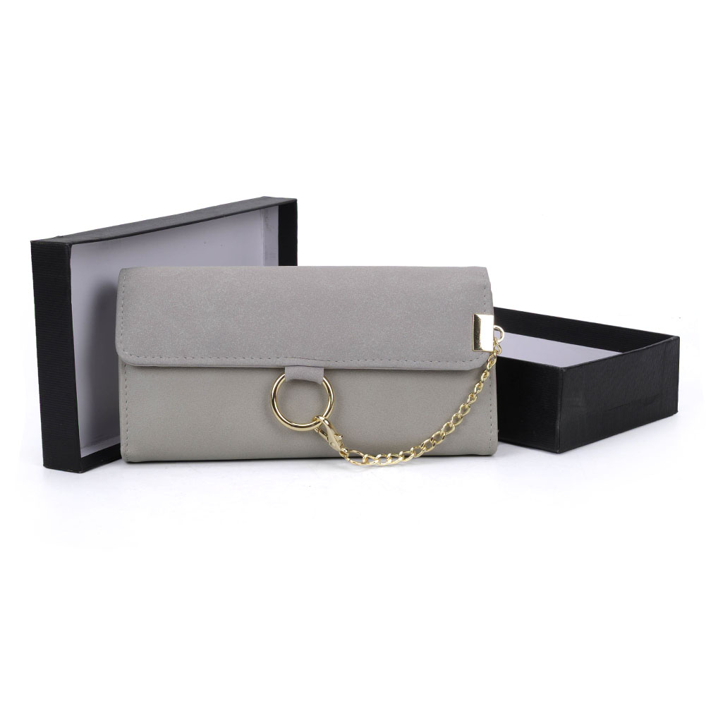 VKP1484 Light grey - Fashion Women Metal Chain Wallet