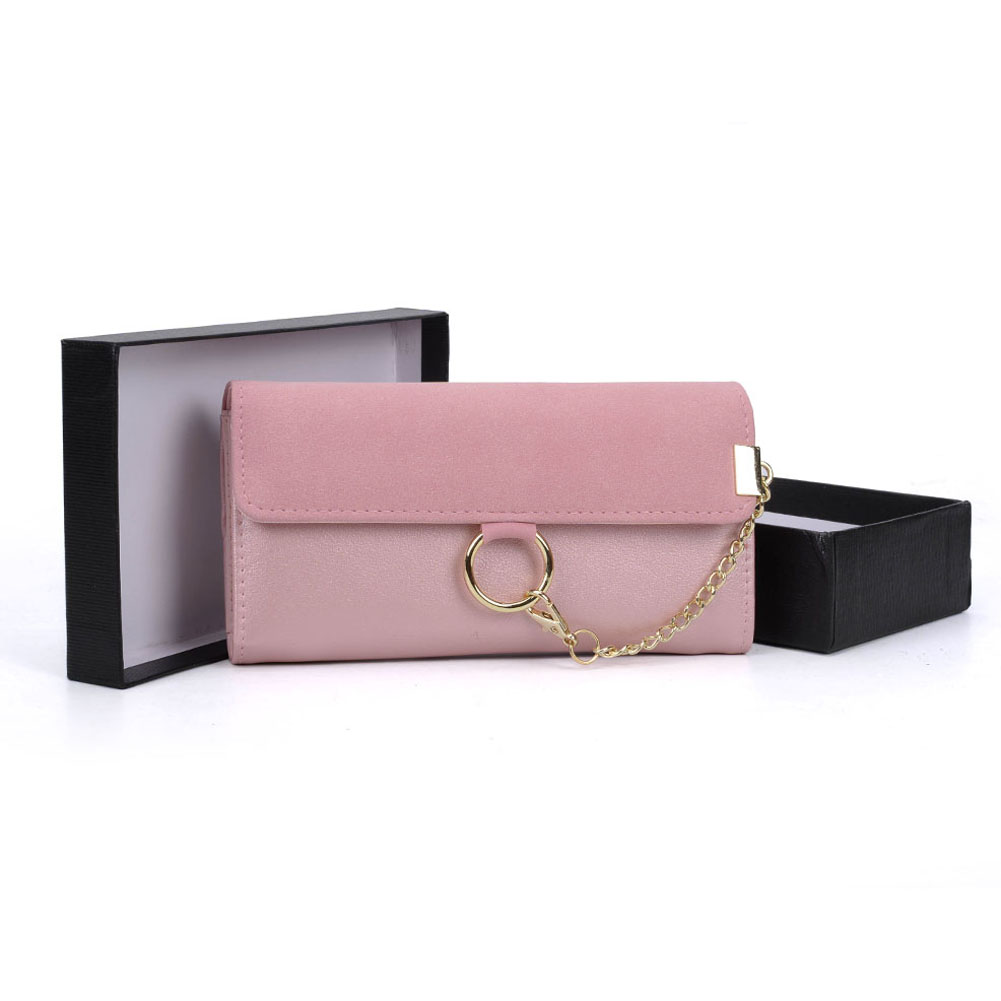 VKP1484 Pink - Fashion Women Metal Chain Wallet