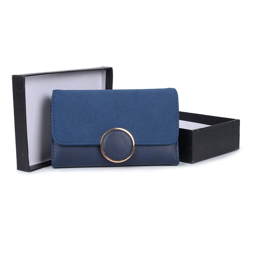VKP1489 Blue - Solid Color Fashion Lady Wallet