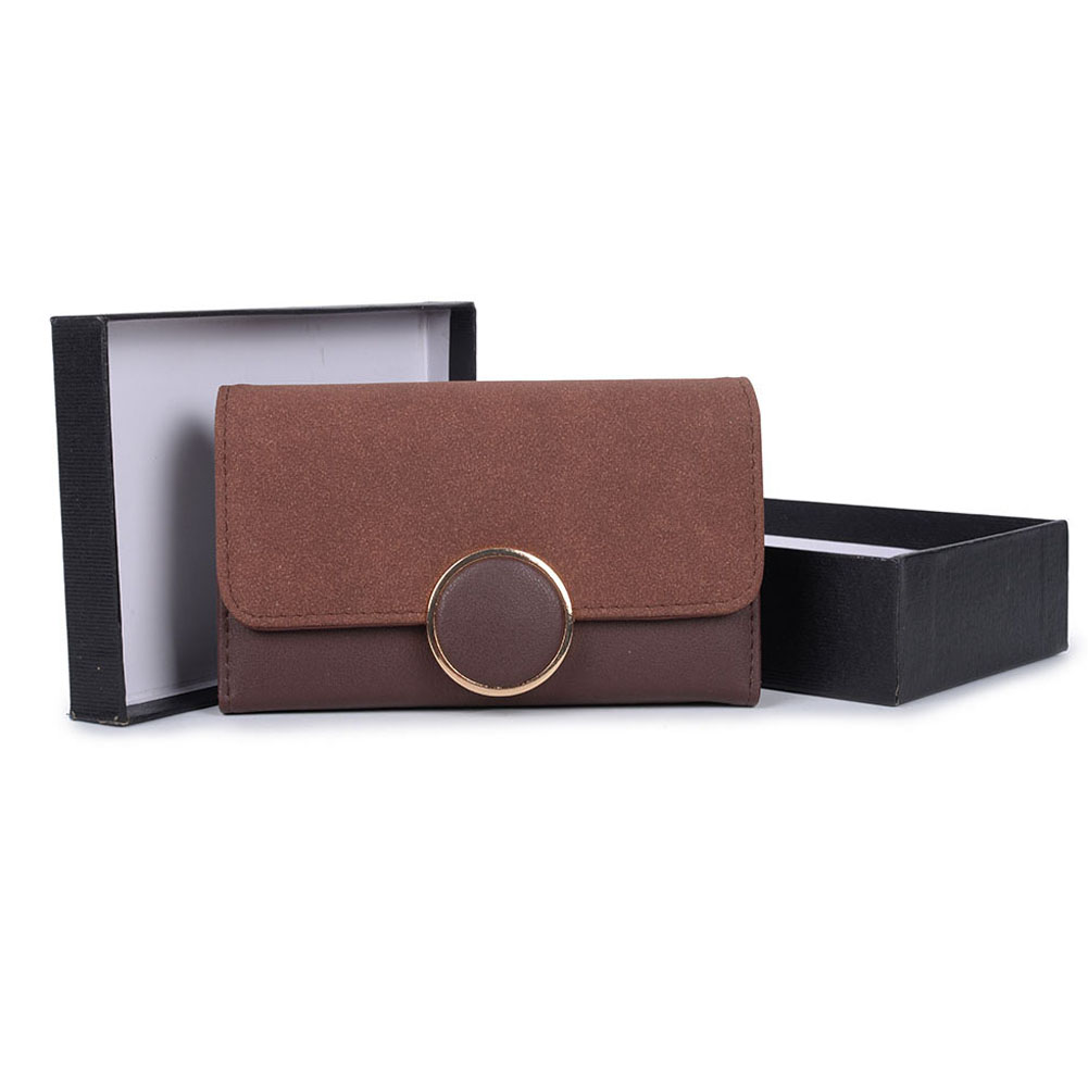 VKP1489 Coffee - Solid Color Fashion Lady Wallet