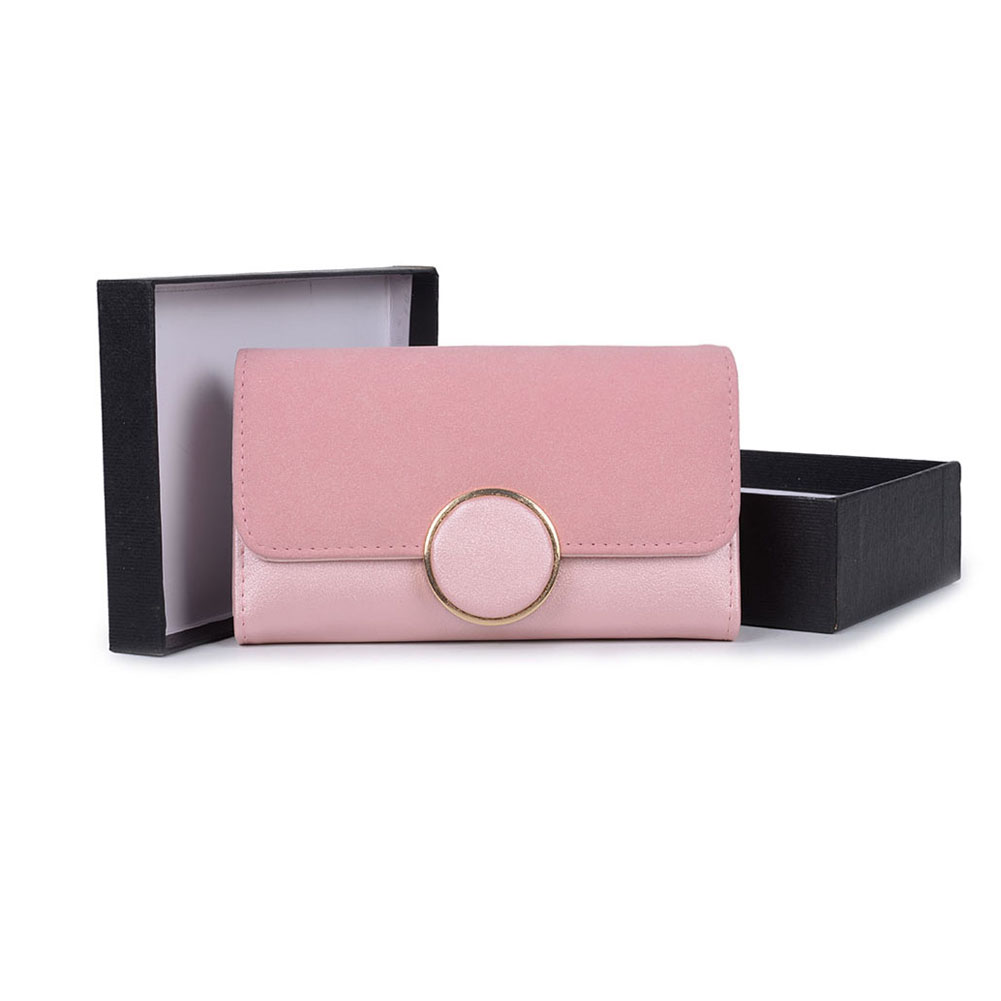 VKP1489 Pink - Solid Color Fashion Lady Wallet