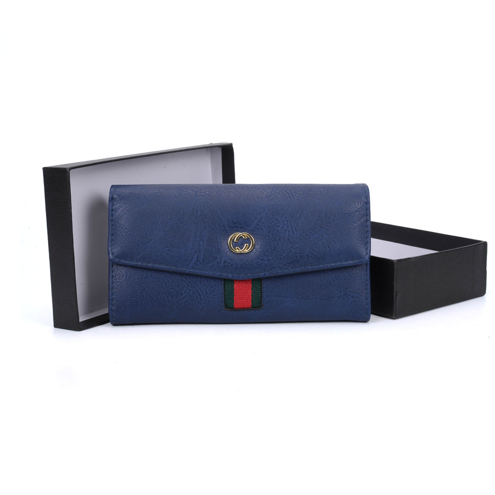 VKP1490 Blue - Women Patchwork Solid Wallet