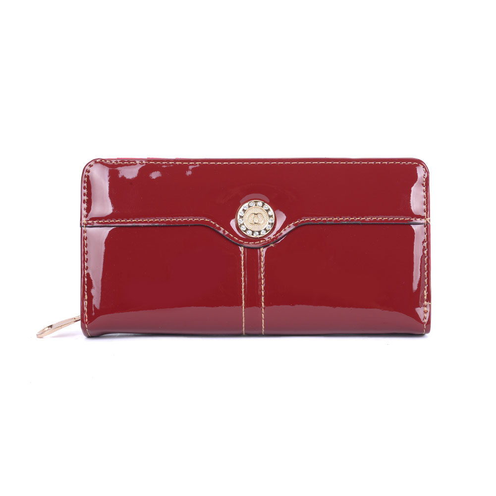 VKP1526 Red - Rhinestone Detail Large Purse In Patent