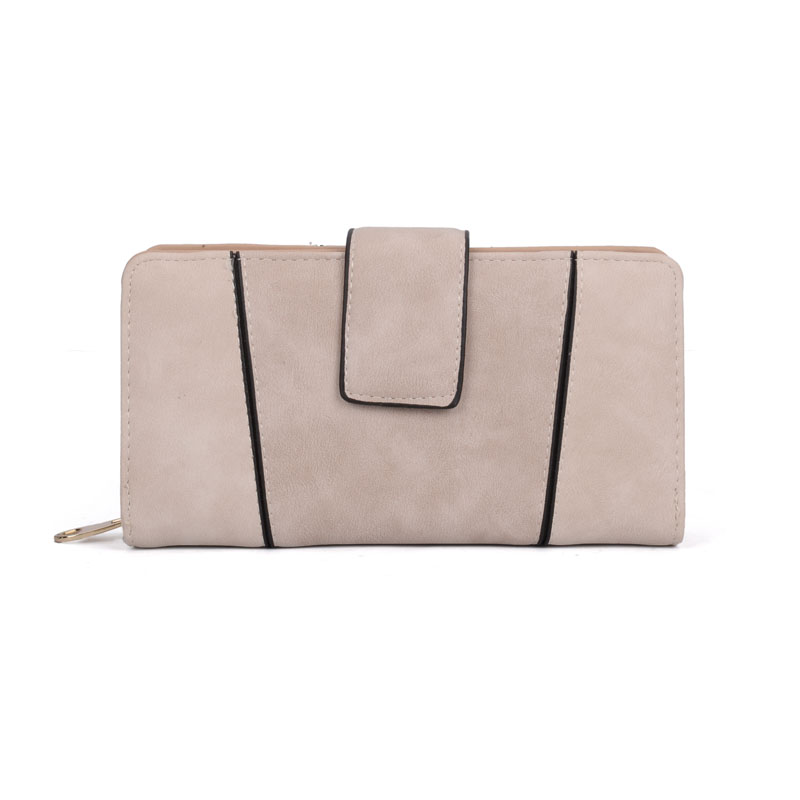VKP1532 Beige - Fashion Patchwork Long Card Purse