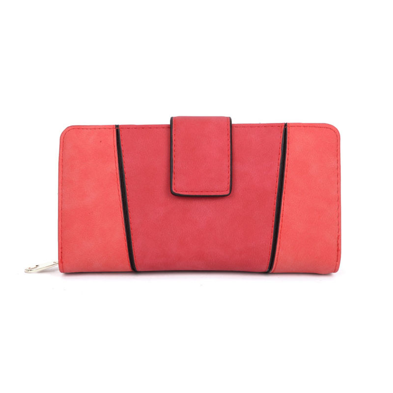 VKP1532 Red - Fashion Patchwork Long Card Purse