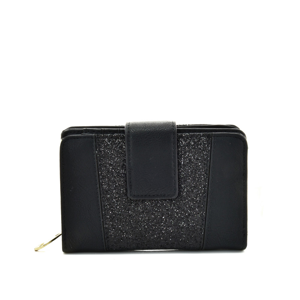 VKP1611 ABLACK - Short Luxury Wallet With Buckle Design