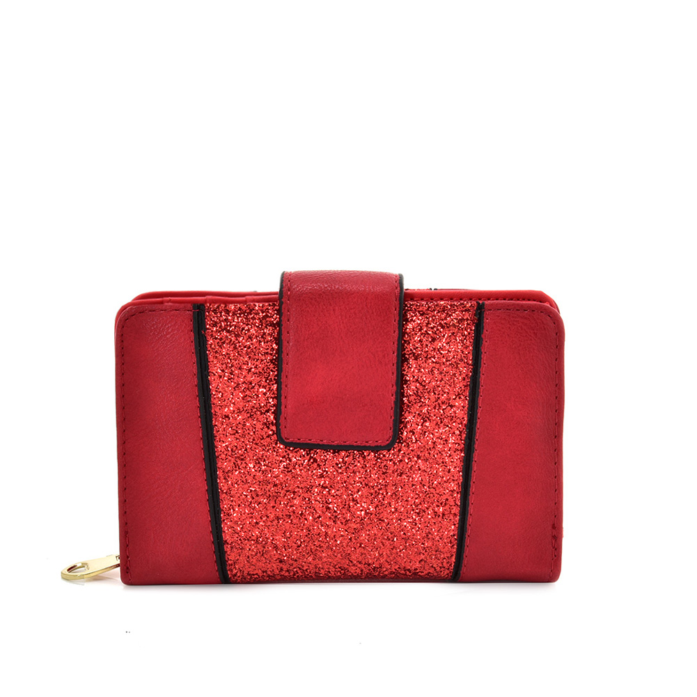 VKP1611 RED - Short Luxury Wallet With Buckle Design