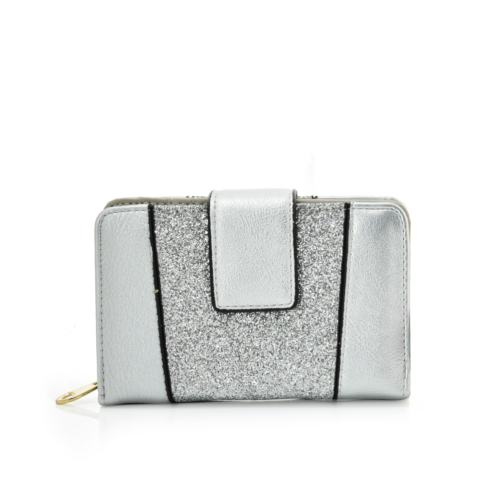 VKP1611 SILVER - Short Luxury Wallet With Buckle Design